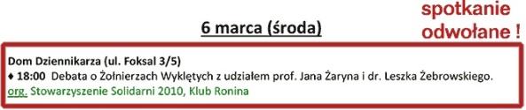 ODWOŁANE! - 6.03,Klub Ronina na Foksal - Spotkanie z prof. J. Żarynem i L. Żebrowskim ODWOŁANE