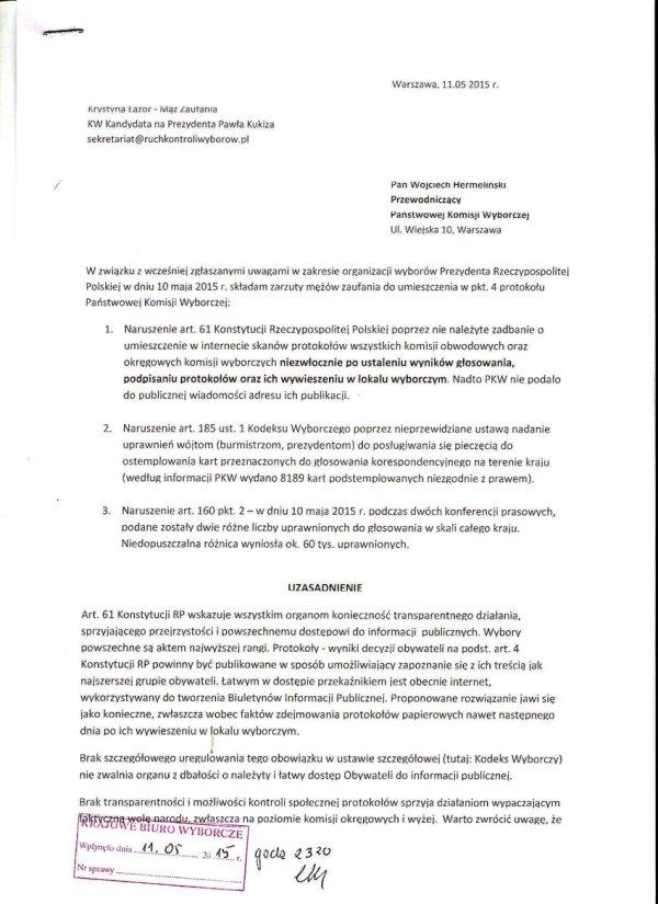 PROTOKÓŁ PKW - ZASTRZEZENIA 2.1zmn